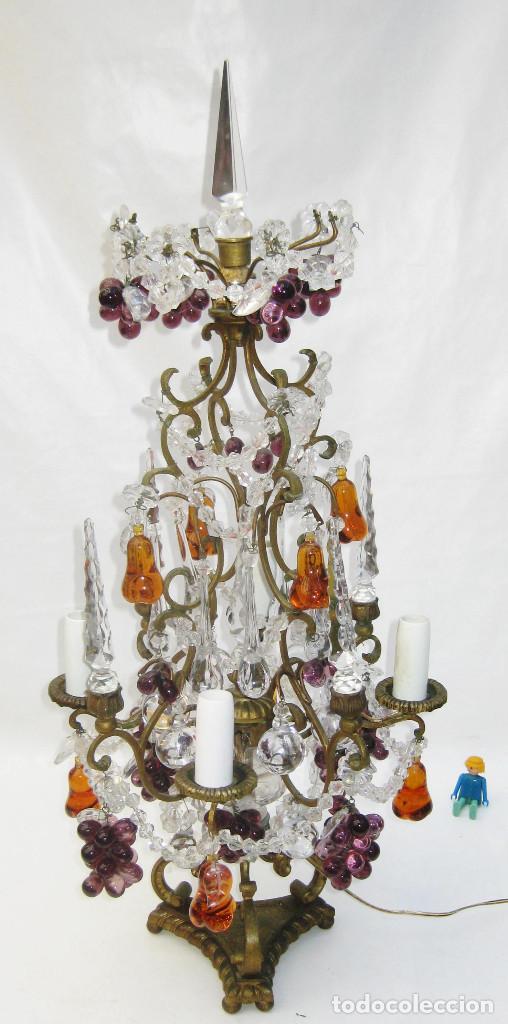 Antigüedades: EXCEPCIONAL LAMPARA ANTIGUA BRONCE Y CRISTALES DE BOHEMIA XVIII , ALTA DECORACION - Foto 4 - 104911847