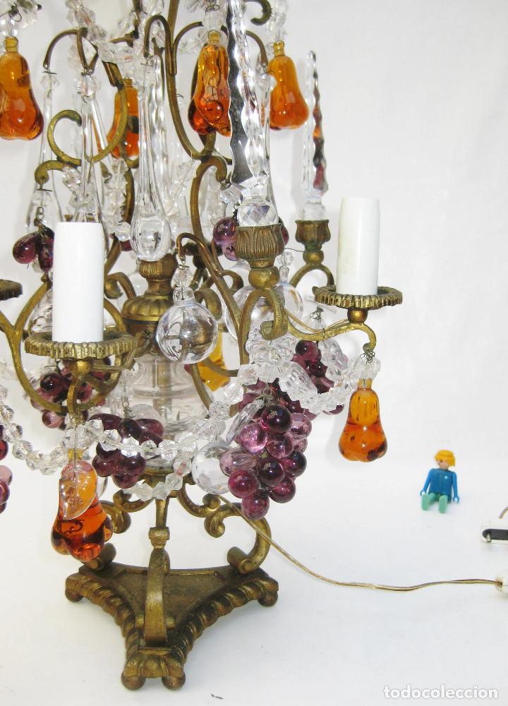 Antigüedades: EXCEPCIONAL LAMPARA ANTIGUA BRONCE Y CRISTALES DE BOHEMIA XVIII , ALTA DECORACION - Foto 5 - 104911847