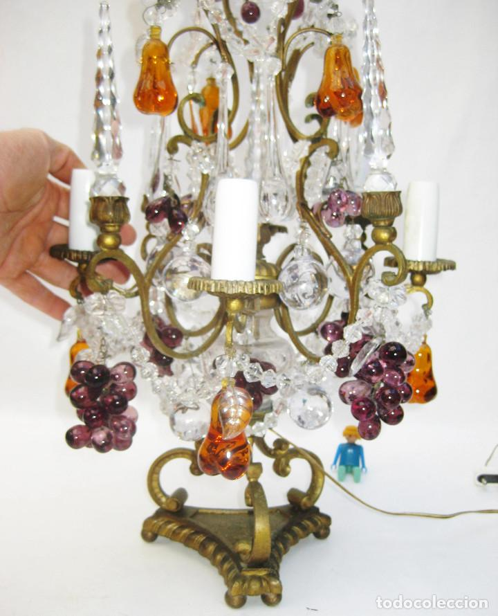 Antigüedades: EXCEPCIONAL LAMPARA ANTIGUA BRONCE Y CRISTALES DE BOHEMIA XVIII , ALTA DECORACION - Foto 6 - 104911847