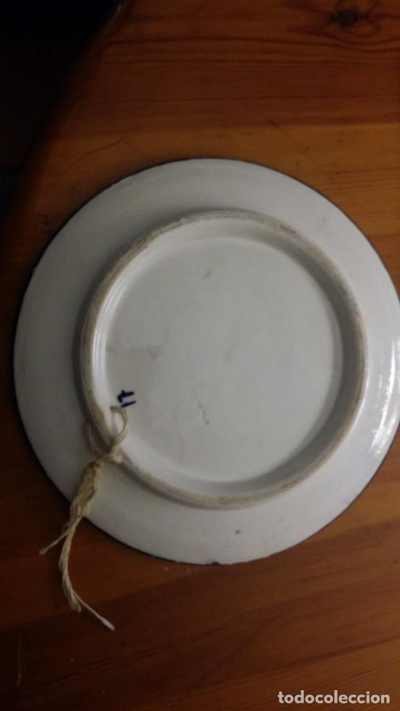 Antigüedades: plato ceràmico con sello, en cobalto sobre blanco - Foto 2 - 104917563