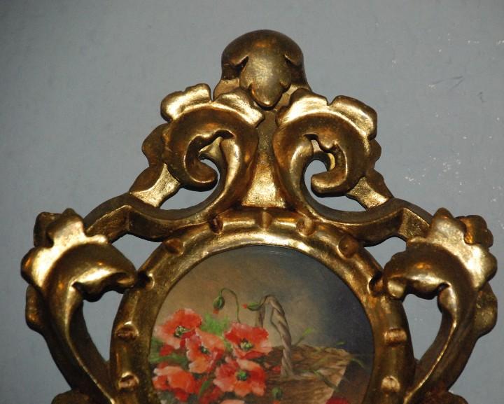 Antigüedades: PAREJA DE PEQUEÑAS CORNUCOPIAS DE MADERA EN ORO FINO CON PINTURAS DE FLORES. - Foto 8 - 104946943