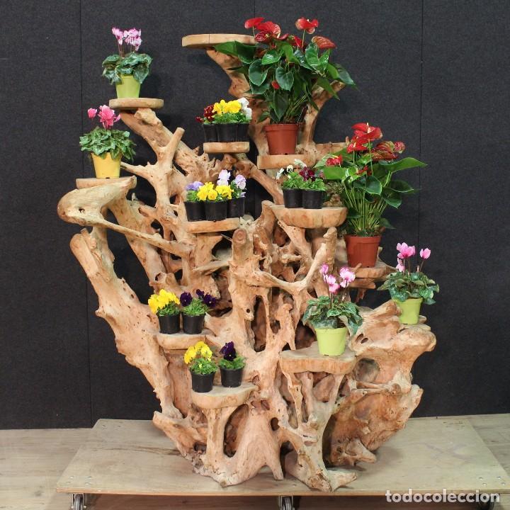 Antigüedades: Florero indonesiano en raíz de manglar - Foto 2 - 104948899