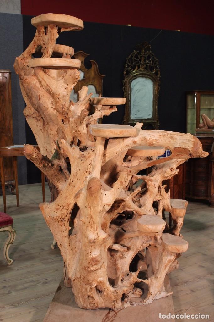 Antigüedades: Florero indonesiano en raíz de manglar - Foto 7 - 104948899