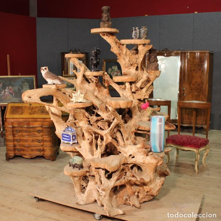 Antigüedades: Florero indonesiano en raíz de manglar - Foto 15 - 104948899