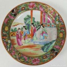Antigüedades: PLATO DE PORCELANA CHINA. FAMILIA ROSA. PINTADO A MANO. ESMALTADO. SIGLO XIX. . Lote 104950383
