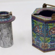Antigüedades: HERMOSA Y ORIGINAL TETERA CLOISONNE ,CHINA .S XIX. 11,9 CM X 10 CM X 8,5 CM.. Lote 104952827