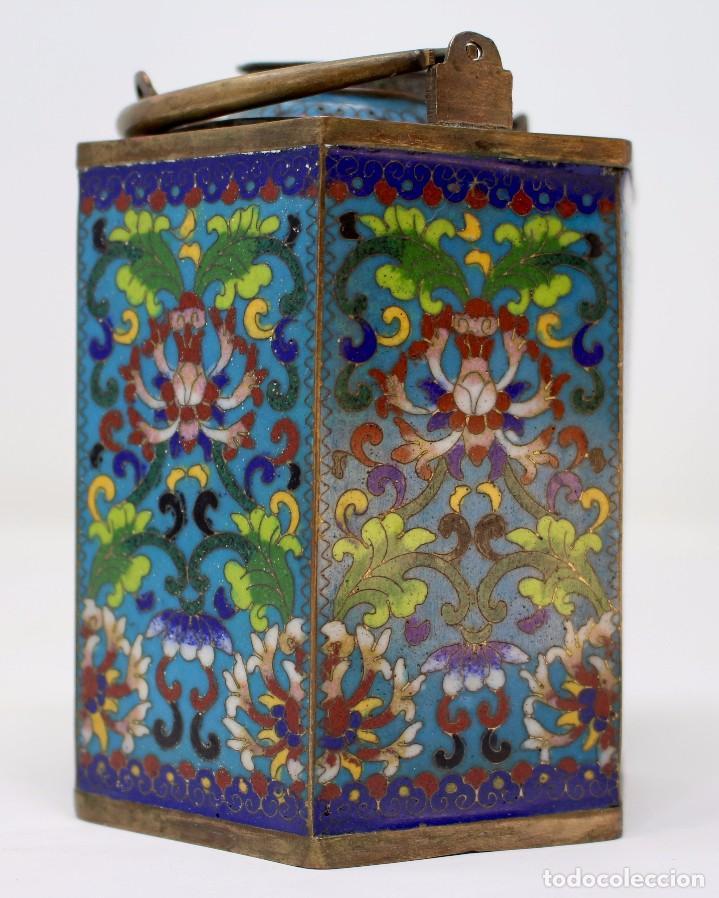 Antigüedades: HERMOSA Y ORIGINAL TETERA CLOISONNE ,CHINA .S XIX. 11,9 cm x 10 cm X 8,5 cm. - Foto 7 - 104952827