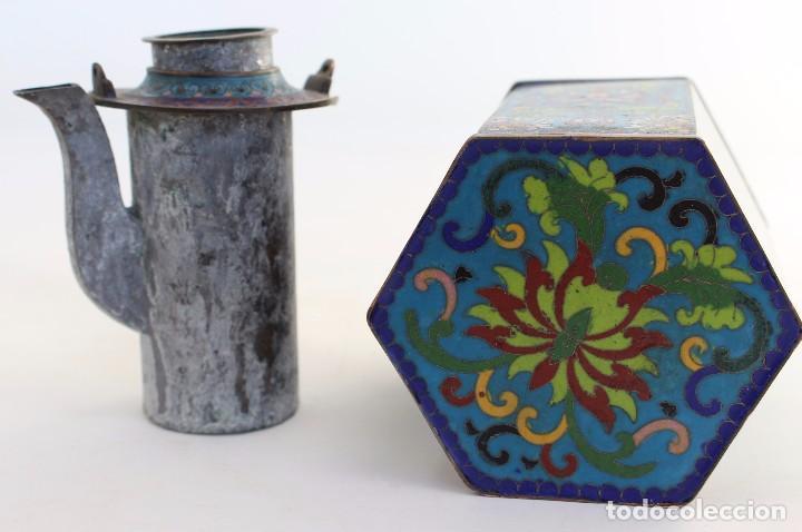 Antigüedades: HERMOSA Y ORIGINAL TETERA CLOISONNE ,CHINA .S XIX. 11,9 cm x 10 cm X 8,5 cm. - Foto 10 - 104952827