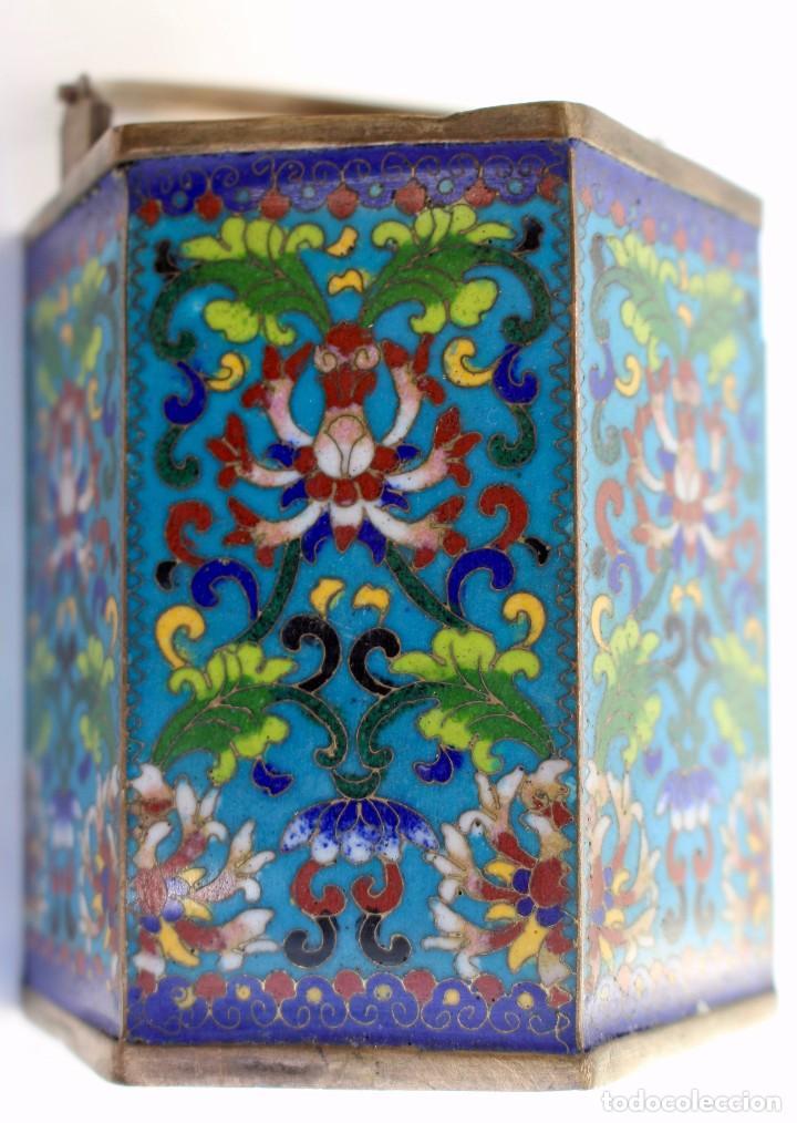 Antigüedades: HERMOSA Y ORIGINAL TETERA CLOISONNE ,CHINA .S XIX. 11,9 cm x 10 cm X 8,5 cm. - Foto 11 - 104952827