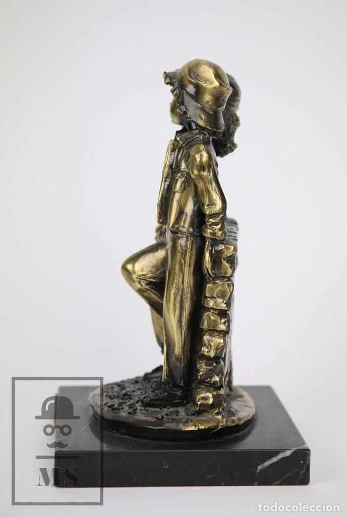 Antigüedades: Escultura de Resina y Bronce Sobre Peana de Mármol Negro - Niños con Flores - Loga Art - Foto 7 - 104957743