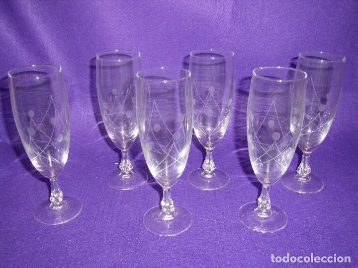 Antigüedades: Cristalería cristal tallado al ácido, de Vicrila España, 61 piezas, años 80, Nueva cajas originales. - Foto 11 - 104976959