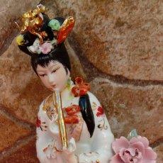 Antigüedades: FIGURA EN PORCELANA CHINA ANTIGUA. 22 CMS DE ALTO.. Lote 104980443