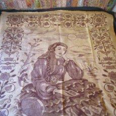 Antigüedades: ANTIGUA MANTA DE LANA TEMA JUEGO CARTAS 220 CM X 190 CM. Lote 105073339