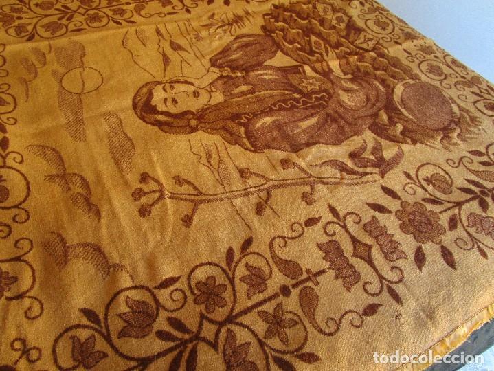 Antigüedades: antigua manta de lana tema juego cartas 220 cm x 190 cm - Foto 3 - 105073339