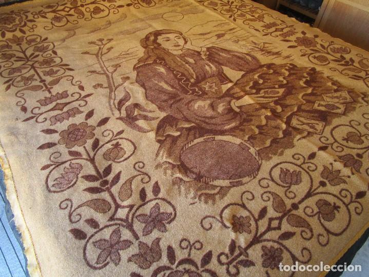 Antigüedades: antigua manta de lana tema juego cartas 220 cm x 190 cm - Foto 4 - 105073339