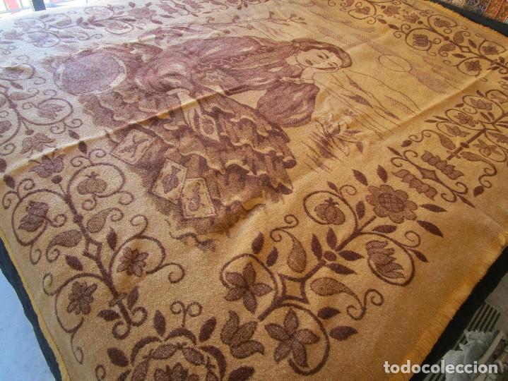 Antigüedades: antigua manta de lana tema juego cartas 220 cm x 190 cm - Foto 5 - 105073339