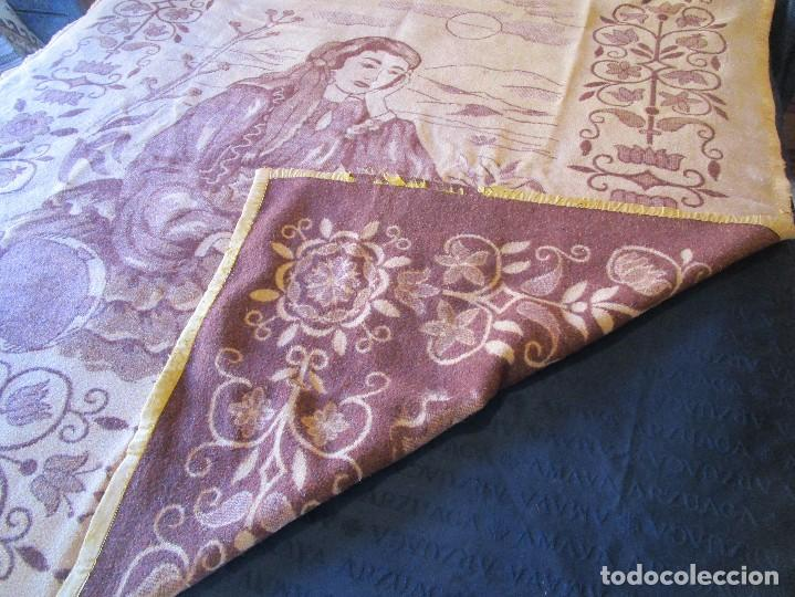 Antigüedades: antigua manta de lana tema juego cartas 220 cm x 190 cm - Foto 8 - 105073339