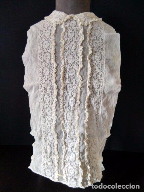 ANTIGUA FALSA CAMISA ENCAJE DE TUL (Antigüedades - Moda y Complementos - Mujer)