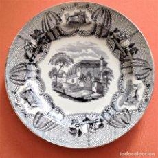 Antigüedades: PLATO DE LOZA ESTAMPADA DE VALDEMORILLO. Lote 105085475