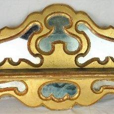Antigüedades: ESTANTERÍA DE PARED TIPO CORNUCOPIA CON ESPEJOS - MADERA POLICROMADA - SIGLO XIX. Lote 105107447