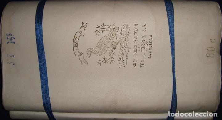 Antigüedades: TELA ANTIGUA FUNDAS DE ALMOHADA EL BUITRE DE TEXTILES TORRES DE BARCELONA 24 METROS DE 80CM DE ANCHO - Foto 3 - 110042088