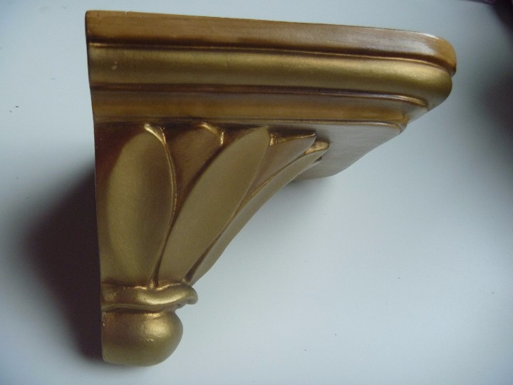 Antigüedades: Mensula peana madera escayola dorada para imagen MAS REGALO PEQUEÑA PEANA MADERA - Foto 7 - 105168023