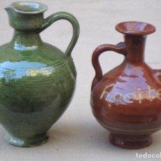Antigüedades: LOTE DE DOS ACEITERAS EN CERAMICA VIDRIADA.. Lote 105212459