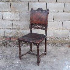 Antigüedades: PRECIOSA SILLA DE CUERO ANTIGUA S. XIX, SILLA ANTIGUA DE ESCRITORIO ESTILO RENACIMIENTO. Lote 105225271