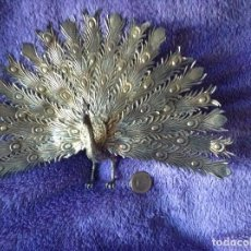 Antigüedades: FIGURA PAVO REAL XIX PLATA SELLO ESTRELLA. Lote 106076508