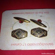 Antigüedades: ANTIGUOS Y ELEGANTES GEMELOS - DAMASQUINADO TOLEDANO - ORO 24 K. INCRUSTADO. Lote 105236779