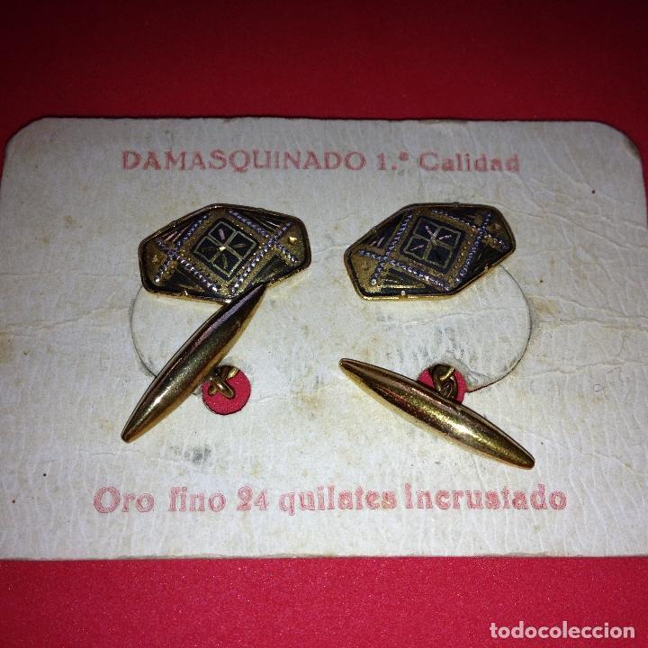 Antigüedades: ANTIGUOS Y ELEGANTES GEMELOS - DAMASQUINADO TOLEDANO - ORO 24 K. INCRUSTADO - Foto 2 - 105236779