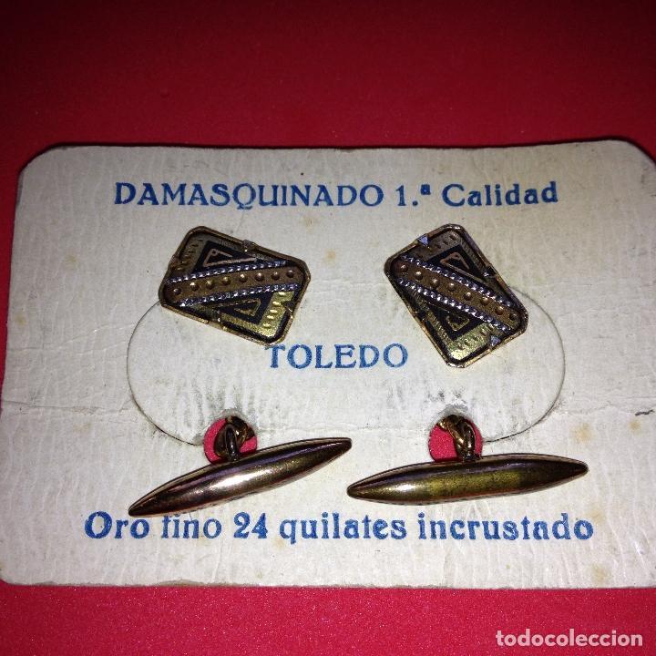 ANTIGUOS Y ELEGANTES GEMELOS - DAMASQUINADO TOLEDANO - ORO 24 K. INCRUSTADO (Antigüedades - Moda - Gemelos Antiguos)