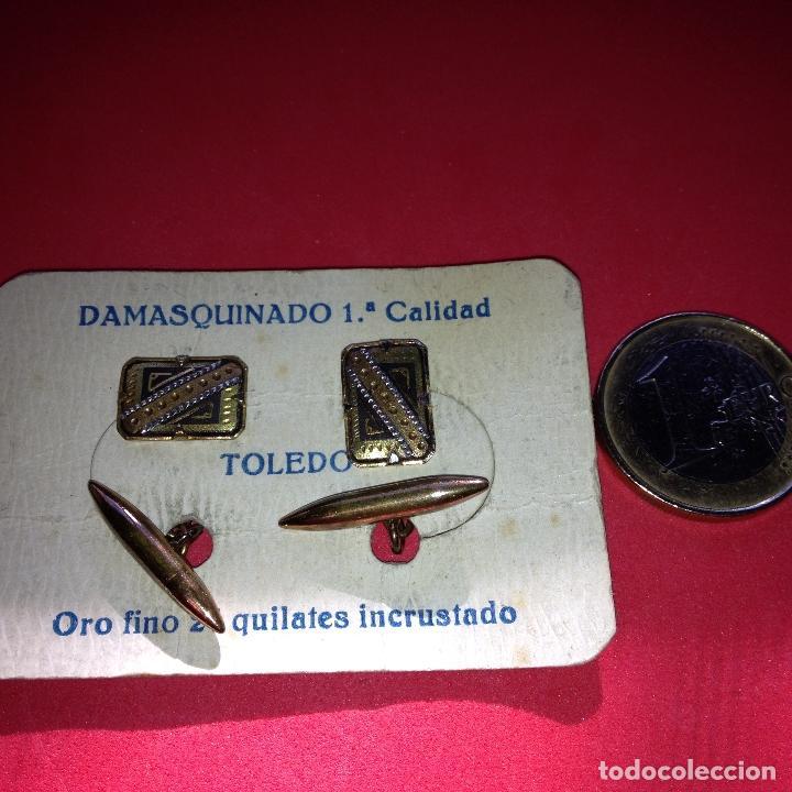 Antigüedades: ANTIGUOS Y ELEGANTES GEMELOS - DAMASQUINADO TOLEDANO - ORO 24 K. INCRUSTADO - Foto 3 - 105236867