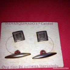 Antigüedades: ANTIGUOS Y ELEGANTES GEMELOS - DAMASQUINADO TOLEDANO - ORO 24 K. INCRUSTADO. Lote 105236903