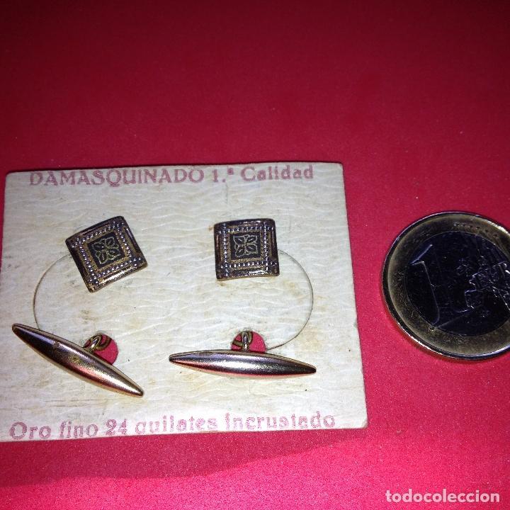 Antigüedades: ANTIGUOS Y ELEGANTES GEMELOS - DAMASQUINADO TOLEDANO - ORO 24 K. INCRUSTADO - Foto 3 - 105236903