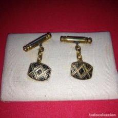Antigüedades: ANTIGUOS Y ELEGANTES GEMELOS - DAMASQUINADO TOLEDANO - ORO 24 K. INCRUSTADO. Lote 105237031