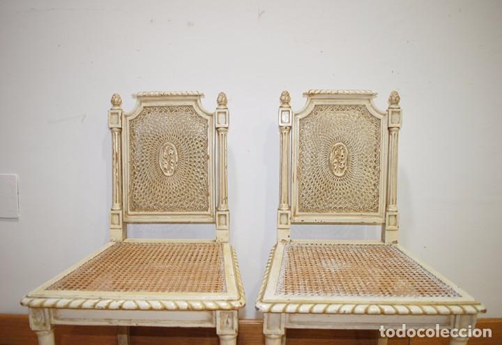 Antigüedades: ANTIGUA PAREJA DE SILLAS DE REJILLA Y MADERA LACADA - Foto 5 - 105238655