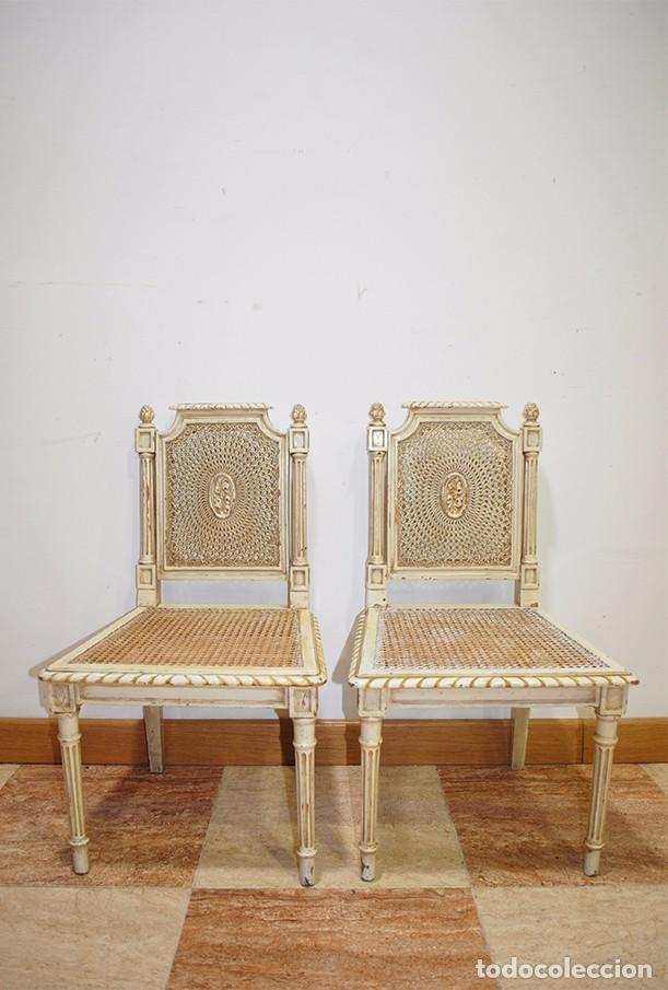 Antigüedades: ANTIGUA PAREJA DE SILLAS DE REJILLA Y MADERA LACADA - Foto 8 - 105238655