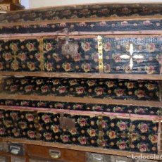Antigüedades: PAREJA DE ANTIGUOS BAULES. MADERA Y TELA ESTAMPADA (TIPO PIEL). MUY DECORATIVO. . Lote 105246015