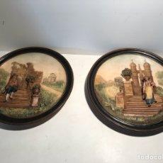 Antigüedades: PAREJA DE PLATOS CON RELIEVE DE TERRACOTA ANTIGUOS.. Lote 105255691