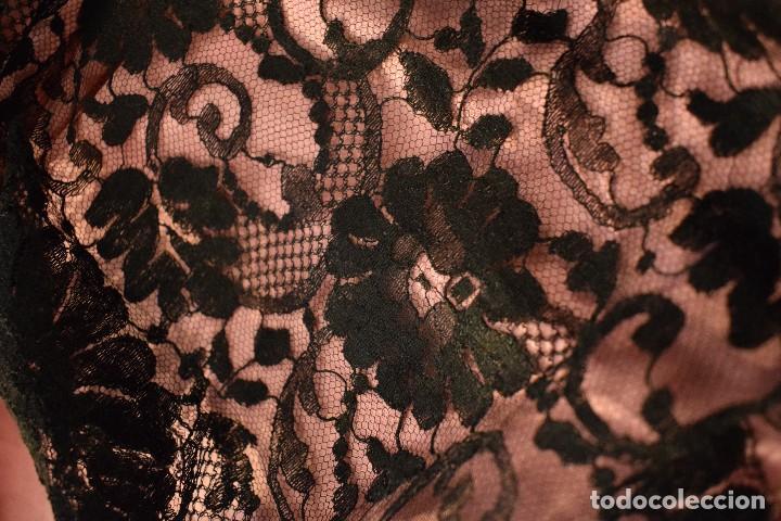 Antigüedades: Mantilla antigua Doble blonda tamaño grande perfecto estado - Foto 4 - 105259391