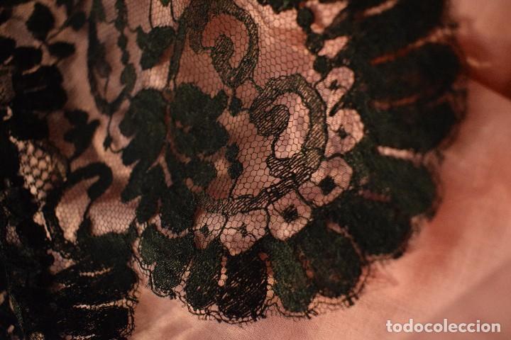 Antigüedades: Mantilla antigua Doble blonda tamaño grande perfecto estado - Foto 5 - 105259391