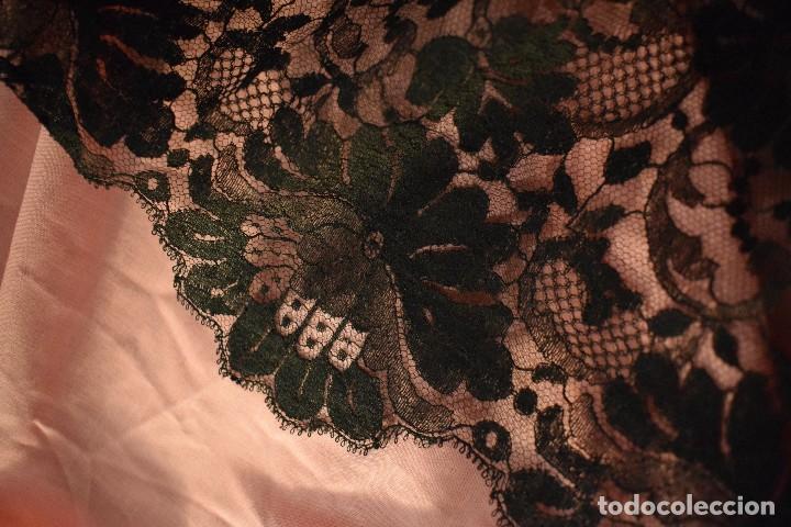 Antigüedades: Mantilla antigua Doble blonda tamaño grande perfecto estado - Foto 9 - 105259391