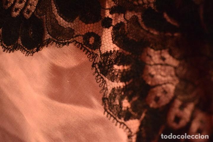 Antigüedades: Mantilla antigua Doble blonda tamaño grande perfecto estado - Foto 11 - 105259391