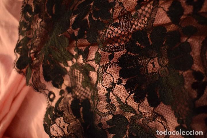 Antigüedades: Mantilla antigua Doble blonda tamaño grande perfecto estado - Foto 13 - 105259391