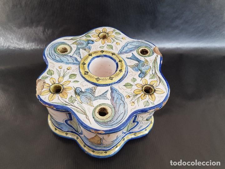 ONDA INTERESANTE TINTERO. MARCAS EN LA BASE. (Antigüedades - Porcelanas y Cerámicas - Alcora)