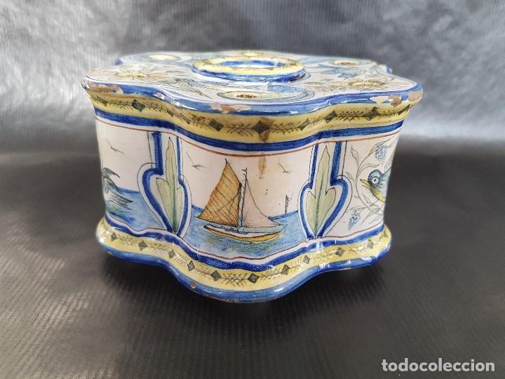 Antigüedades: ONDA INTERESANTE TINTERO. MARCAS EN LA BASE. - Foto 2 - 105261811