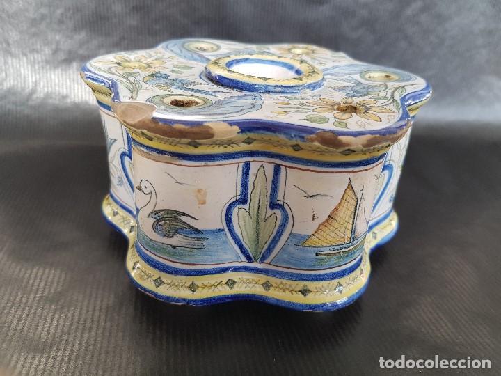Antigüedades: ONDA INTERESANTE TINTERO. MARCAS EN LA BASE. - Foto 4 - 105261811