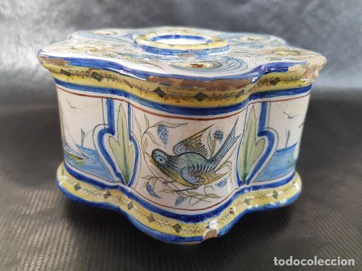 Antigüedades: ONDA INTERESANTE TINTERO. MARCAS EN LA BASE. - Foto 5 - 105261811
