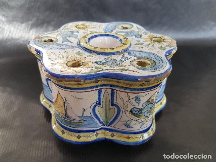 Antigüedades: ONDA INTERESANTE TINTERO. MARCAS EN LA BASE. - Foto 10 - 105261811